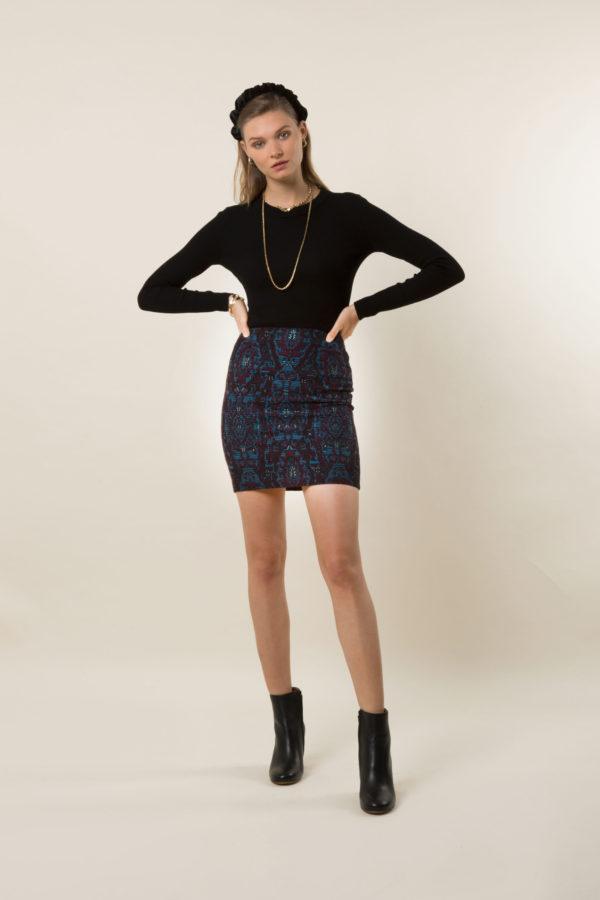 Sara Brocade Mini Skirt