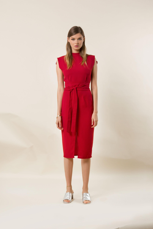 Lea Red Midi Dress