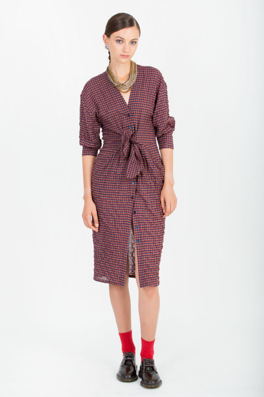 Laila Check Belted Dress