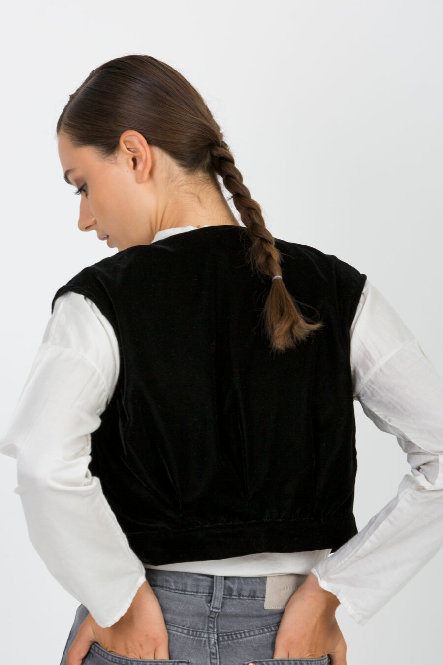 Lila Black Velvet Vest