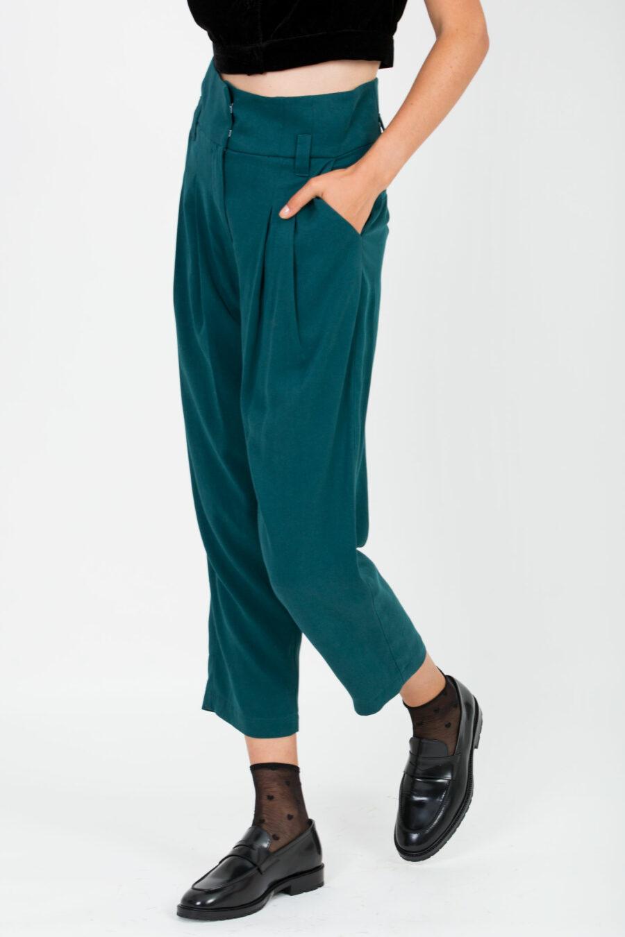 Margot Petrol Green Trousers