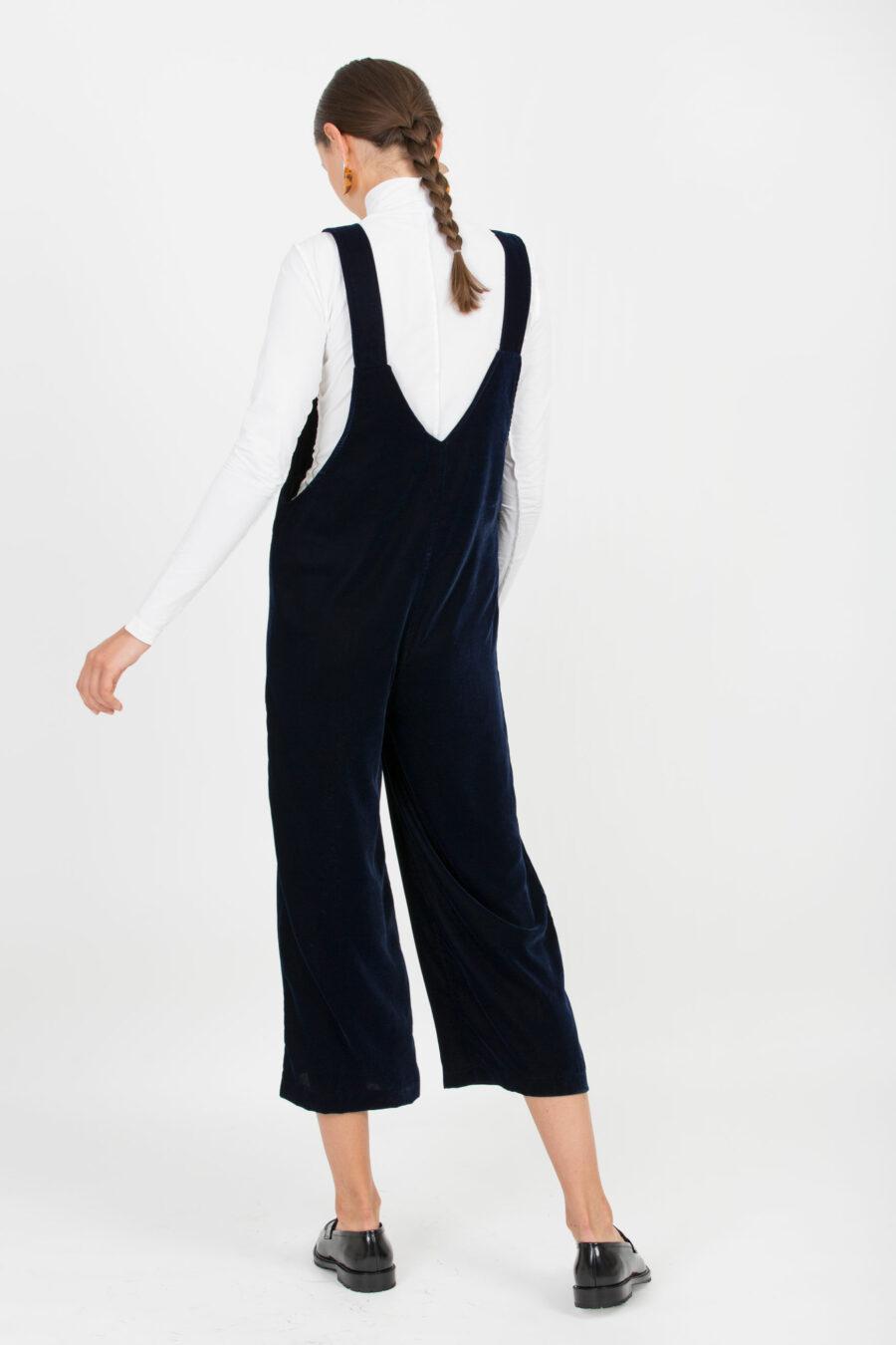 Flora Blue Velvet Jumpsuit